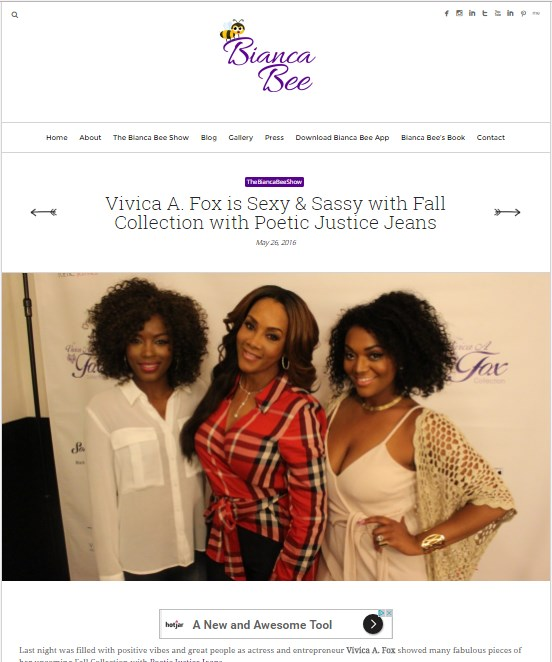 Vivica A. Fox is Sexy & Sassy with Fall Collection with Poetic Justice Jeans